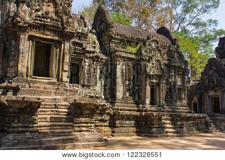 Part of the ancient Angkor Wat temple in Cambodia .