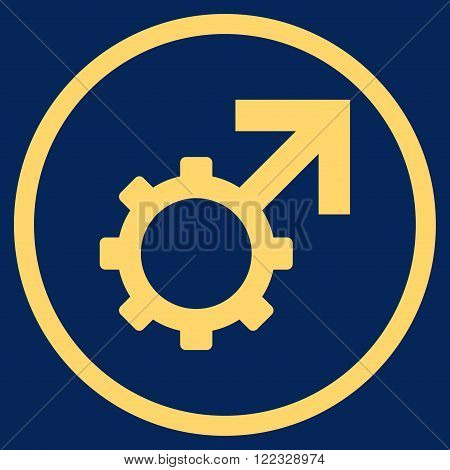 Technological Potence vector icon. Image style is a flat icon symbol inside a circle, yellow color, blue background.