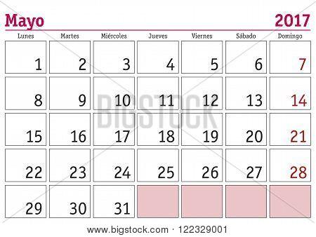 Mayo 2017 Wall Calendar Spanish