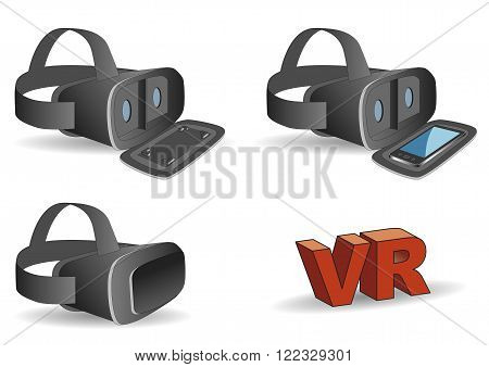 VR headset in black equipped with a mobile phone. New technology gadget for use in immersive 3d experiences
