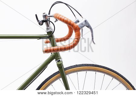 Vintage road bicycle handlebar isolated on white.