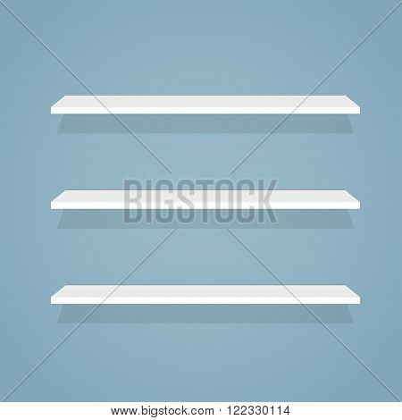 Simple flat illustration of shelves for products. White and clean store wall shelves.