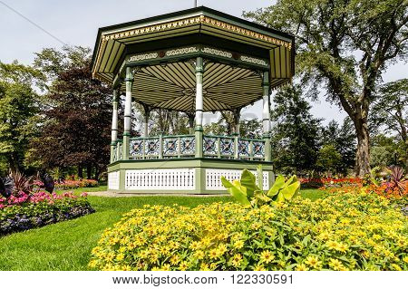 A beautiful ornate gazebo in a public garden in Halifax Nova Scotia