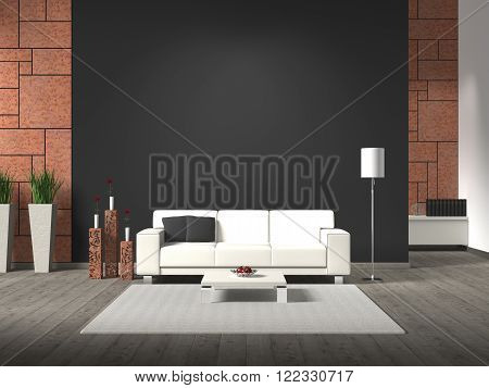 fictititous 3D rendering of a modern interior with sofa corten steel and copy space