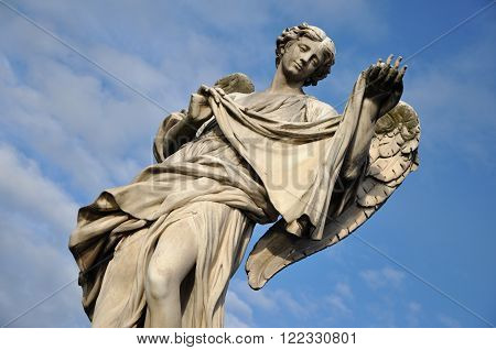 Angel With The Veil. Statue On The Ponte Sant' Angelo Bridge, Rome