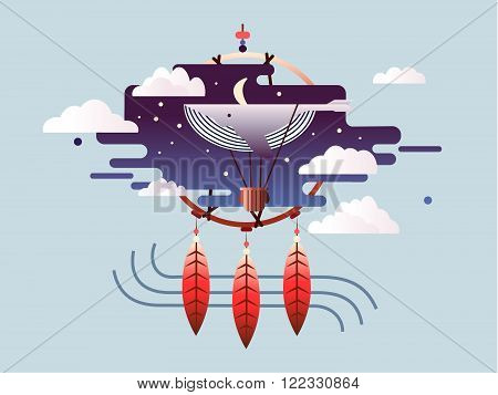 Dream abstract design flat. Sky cloud fantasy, travel thinking and imagination, vector illustration