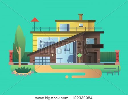 Modern country house. Home cottage building, residential architecture, real property design, vector illustration