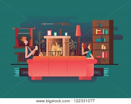 Interior room fireplace. Home room, furniture modern, house and couch, living apartment architecture, vector illustration