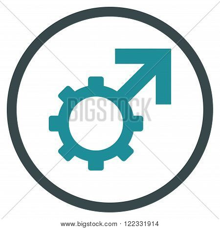 Technological Potence vector bicolor icon. Image style is a flat icon symbol inside a circle, soft blue colors, white background.
