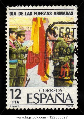 SPAIN - CIRCA 1981: a stamp printed in Spain shows the kings of Spain, Juan Carlos I renewing his oath of allegiance, circa 1981