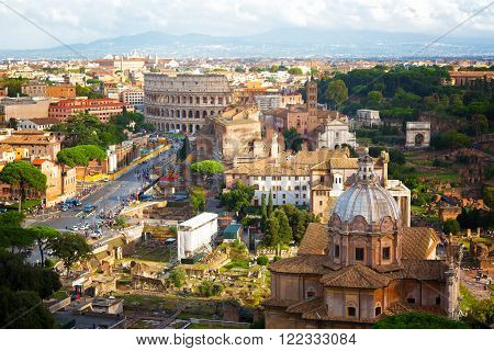 Ancient ruins of the Roman Forum in Rome Italy