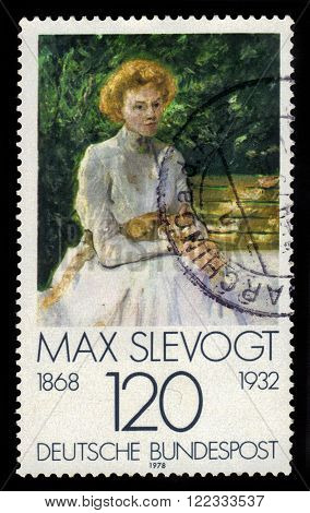 GERMANY - CIRCA 1978: a stamp printed in Germany shows painting by Max Slevogt, german impressionist painter and illustrator, series german impressionism, circa 1978