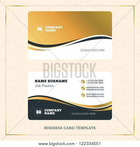 Creative Golden Business Visiting Card Vector Design Template. Vector Illustration. Stationery Desig