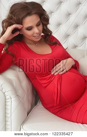 fashion photo of beautiful pregnant woman with long dark hair posing in beautiful  interior