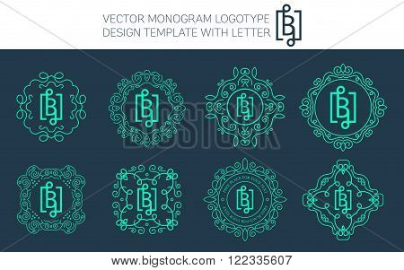 Vector monogram logo set with letter B. You can use in royal floral monogram design logo. Creative art monogram of logo ornament. Design vector illustration of letter B. Floral monogram logo style.