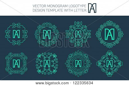 Vector monogram logo set with letter A. You can use in royal floral monogram design logo. Creative art monogram of logo ornament. Design vector illustration of letter A. Floral monogram logo style.