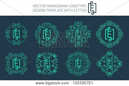 Vector monogram logo set with letter E. You can use in royal floral monogram design logo. Creative art monogram of logo ornament. Design vector illustration of letter E. Floral monogram logo style.