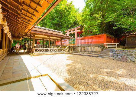 NARA, JAPAN - JUNE 24, 2015: Perfectly raked rock garden at rear of Kasuga-Taisha Shinto shrine at Todai-ji temple complex in Nara Japan