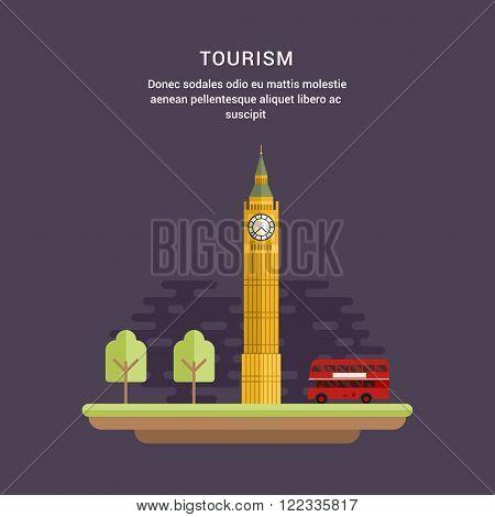 Tourism Concept Flat Style Vector Illustration. Big Ben Elizabeth Tower in London