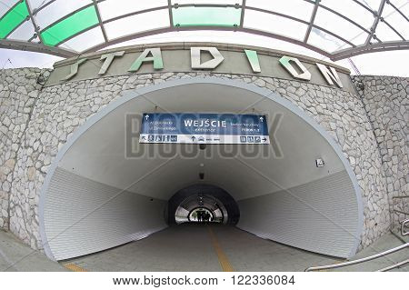 WARSAW, POLAND - MAY 27, 2015: Warszawa Stadion railway station, located in the district of Praga Poludnie close to the National Stadium. The station was renovated shortly before the Euro 2012 football championships