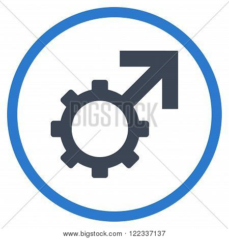 Technological Potence vector bicolor icon. Image style is a flat icon symbol inside a circle, smooth blue colors, white background.