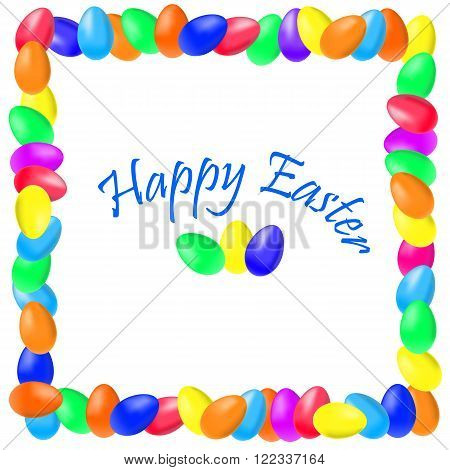 Colored inscription Happy Easter in eggs frame