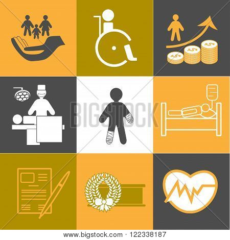 Life and healthy insurance flat icons collection in orange and grey colors