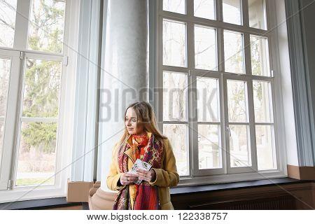 Beautiful Blonde Smiles. Optimism Cold Spring