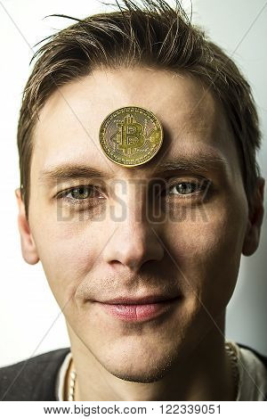 The guy smiles , profile, person, bitcoin, business, Finance, mining, miner, money, network, Internet, eyes, smile, appearance, facial expression