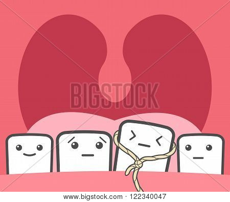 Tooth pulled thread. Deciduous teeth baby teeth temporary teeth milk teeth. Funny vector illustration