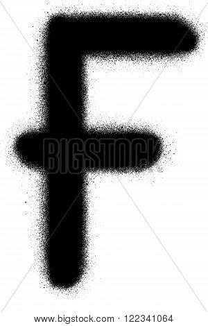sprayed F font graffiti in black over white