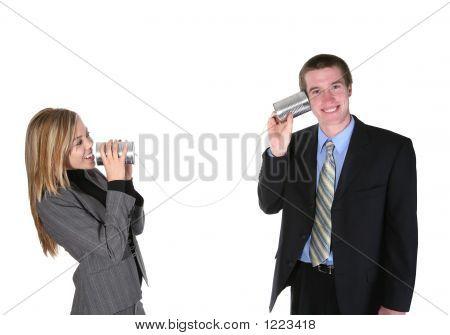 Geschäftsleute auf alten Telefon