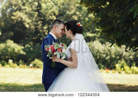 Happy Couple Of Newlyweds, Bride And Groom Posing & Hugging In Park