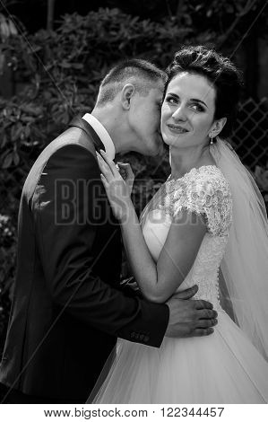 Happy Couple Of Newlyweds, Bride And Groom Kissing & Hugging In Park B&w