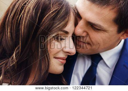 Sensual Romantic Newlywed Couple, Hugging, Face Closeup