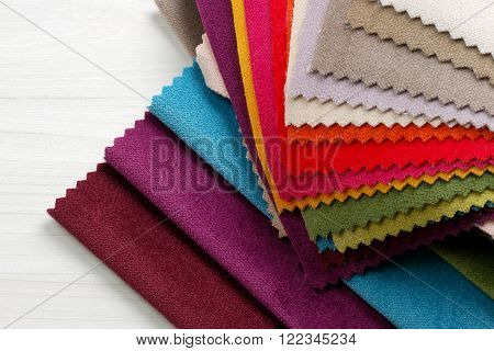 Bright collection of colorful velure textille semples.