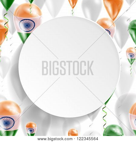 Flag of India. Independence Day. Flag of Micronesia on air balloon. Celebration and gifts. Balloons on the feast of the national day.  Use for brochures, printed materials, signs, elements