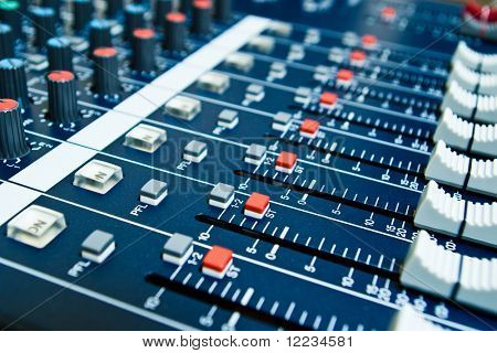 audio mixer with shallow depth of field