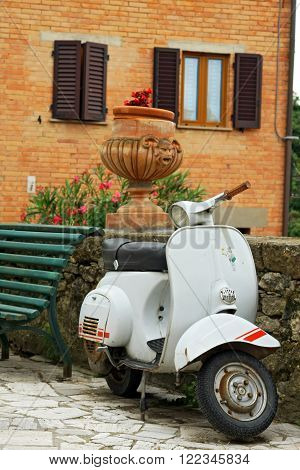 PETROIO (SIENA), ITALY - jUNE 23, 2009: classic Vespa is one of the products of the industrial design world's most famous and most often used as a symbol of Italian design