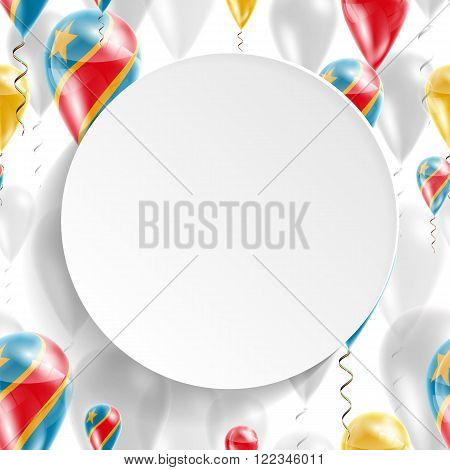 Flag of Democratic Republic of Congo. Independence Day. Flag of Micronesia on air balloon. Celebration and gifts. Balloons on the feast of the national day.  Use for brochures, printed materials, signs, elements