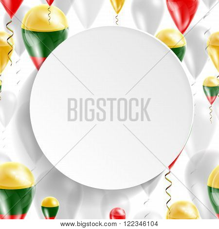 Lithuanian national flag. Independence Day. Flag of Micronesia on air balloon. Celebration and gifts. Balloons on the feast of the national day.  Use for brochures, printed materials, signs, elements