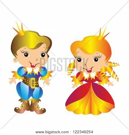 Prince and Princess boy girl standing on white background