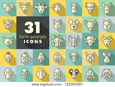 Set of farm animals icons. Vector head outline thin illustration. eps 10