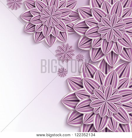 Floral elegant background with purple violet ornate 3d flowers dahlia cutting paper. Beautiful stylish creative background. Trendy greeting or invitation card for wedding birthday and life events. Vector illustration
