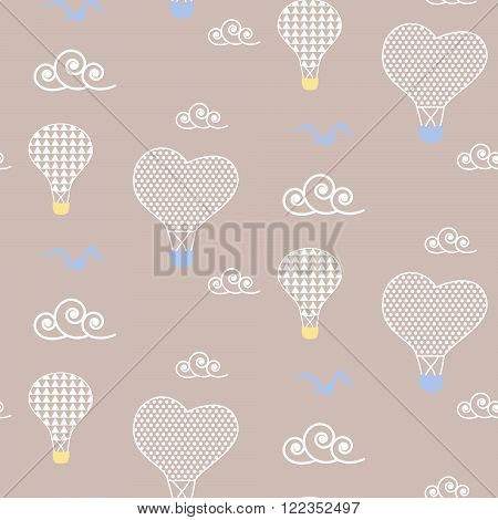 Air balloons in sky baby beige pattern seamless design. Nursery hot balloons kid background for bed linen and apparel. Heart balloons in white clouds design.