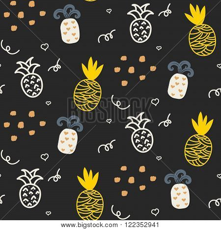 Baby pattern dark grey and yellow pineapple seamless design. Nursery pineapple kid background for bed linen and apparel. Ananas pineapple white and gray fun pattern.