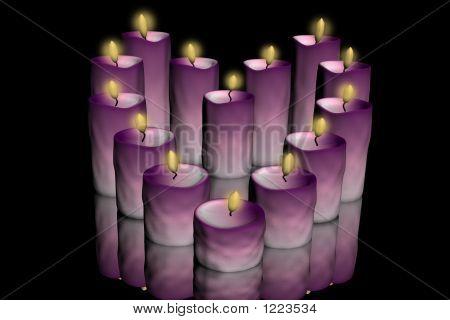 Rosa aufgehellte Kerze Herzen schwarz