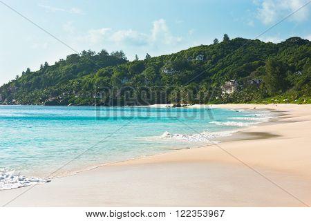 Tropical beach at Mahe island Seychelles in sunny day