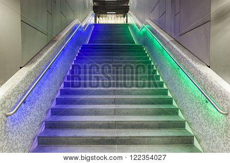 Illuminated Steps In The Train Station During Luminale  In Frankfurt