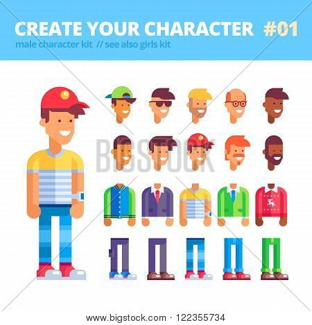 Male character creation kit. Set of replaceable parts for creating your unique male character - 10 heads, 5 bodies, 5 couples of legs and 3 tones of skin. See also guys kit. Vector illustration.